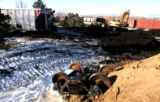 Burlington Northern coal train cars lay scattered near I-70 and Washington in Denver on Wednesday...