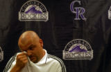 (DENVER, Colo., Aug 6, 2004)  Larry Walker, former Colorado Rockies baseball player, wipes a tear...