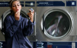 [JPM136]  Wash and wear clothes with Heather as Smiley's laundromat in central Denver. Men's navy...
