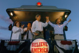 (8/07/2004,Las Vegas, NM)  John Kerry and John Edwards and their families held a rally on the back...