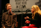 Nick Forster (cq), co-host of etown, interviews singer Rickie Lee Jones, right,  during a taping...
