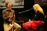 Etown co-host Nick Forster interviews Rickie Lee Jones during the show at the Boulder Theater in...