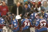 (Denver,CO,Shot On 4/26/04-- Avalanche Coach Tony Granato tries to motivate the team with a scheme...
