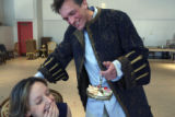 Stephanie Cozart shares a laugh moment with Brent Harris as the two rehearse a scene from Amadeus...