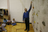 "DLM01163   Coach Tim Cullen warns students not to grab onto the bolts during an ""Adventure..."