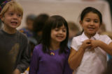 (left to right) Michael Guber, Emma Adelstein and Jessica Volin, kindergarten students at...