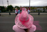 Marilyn McCaulley (CQ), of Steamboat Springs, Colo., dressed in pink from head to toe takes a...