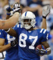 NAD108 - Indianapolis Colts wide receiver Reggie Wayne celebrates his fourth-quarter touchdown...