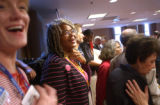 [(Boston, MA, Shot on: 7/26/04)] Colorado delegate Kim Coohen, of Boulder,  laughs with fellow...