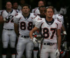 (JPM654)  Denver Broncos  David Kircus, #87, Tony Scheffler and Chris Myers, stand for the playing...