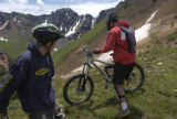(SILVERTON, Colorado. July 23, 2004) (L-R) Tyler Schovajsa,13, and his dad Scott Schovajsa, from...