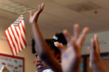 (DENVER, CO. JULY 23, 2004) Maxwell Elementary School students Jasmine Campbell, raises her hand...