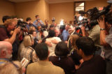 [(Boston, MA,Shot on: 7/26/04)] Former presidential canidate Howard Dean hugs a long time suporter...