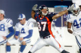 (186) Denver Broncos wide reciever David Kircus celebrates his 45 yard reception during the second...
