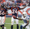 (020) Denver Broncos cornerback Champ Baily gets called for illegal contact on Indianapolis Colts...
