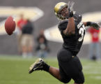 University of Colorado Buffaloes tail back Mell Holliday misses a catch in the first quarter of...