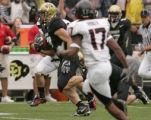 University of Colorado tight end Riar Geer runs for Colorado's first touch of their 30-6 rout of...