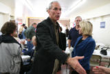 Republican gubernatorial candidate Bob Beauprez reaches out the shake the hand of supporter, Linda...