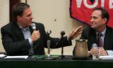 (L-R) Rick O'Donnell and Ed Perlmutter debate for a final time in a debate sponsored by the ...