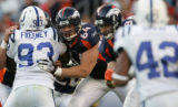 (JPM1862) Denver Broncos tackle Erik Pears, #64, blocks Indianapolis Colts Dwight Freeney, #93, in...