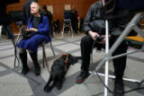 "Diane McGeorge, cq, left, Denver, with her seeing eye dog ""Abby,"" casts a private ballot..."