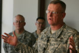(DLM0207) -  Lt. Gen. Kevin Kiley, the Army's surgeon general, speaks with reporters  about the...