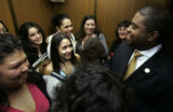 Getting Up-close and personal -- a swarm of young Latino girls from Estrellas, a rural resource...