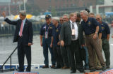 [(Boston, MA,Shot on: 7/27/04)]  Presidential candidate John Kerry arrives at the Chrlestown Navy...