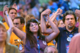 [(Boston, MA,Shot on: 7/28/04)] Delegates Anita Moscoso(left), and Mounhak Terrace(CQ) from...