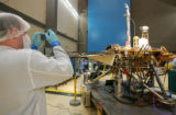 Andy Shaner takes a pictiure of the Phoenix Mars Lander at Lockheed Martin Space Systems in...