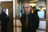 Michael Andre(cq) , attorney for Willie D. Clark, talks to the media inside  the Denver County...