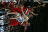 Denver Nuggets guard Steve Blake looks to pass the ball in the fourth quarter against Portland...