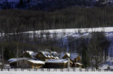 The main lodge house of the Home Ranch in Clark, Co. sits tucked into an aspen covered hillside...