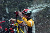 (VAIL, COLO., May 12, 2004 )  Jason Miller, of Avon, puts his bike on his car rack at the top of...