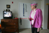 93-year-old Marion Downs (cq), uses exercise stretch bands in her bedroom on February 5, 2007, in...