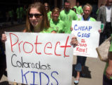 (DENVER, CO. July 29, 2004) Lanah Hake (left, holding sign) and Amy Slothower, (rt holding sign) ...