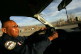 Lead Security Officer Troy Wells patrols the streets of the Ute Mountain Ute Tribe Reservation in...