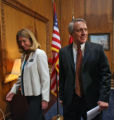 Gov. Bill Ritter, right leaves with Cary Kennedy, after introducing three new co-chairs of the...