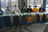 Signing day at Mullen High School's Hutchison Field House lobby located at 3601 S. Lowell Blvd,...
