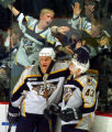 Predators defenseman Karlis Skrastins, left, congratulates wing Vitali Yachmenev on his assist to...