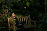 (DLM4824) -  Dr. Margaret Clarke enjoys a few minutes of peace in the Boettcher Memorial Tropical...