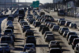 (DLM2804) -  Southbound traffic moves along at a crawl as it passes Hampden Avenue in Denver,...