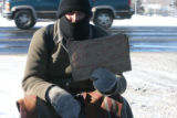 Mike, only name given, (cq), was occupying a milk crate at the corner of Cedar and Kalamath Sts.,...