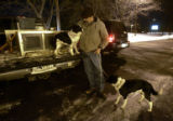 Jim Chant is reunited with Dottie and Trigger two of four Border Collies returned along with his...