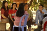Kampong Chnang, Cambodia.  November 4, 2003.       Prostitute  Boeun Long, center, tells her story...