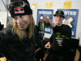 Tucker Hibbert  a Monster sports drink sponsored snowmobile X competitor  teases  Kristi Leskinen...