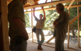 [Boulder, CO - Shot on: 8/13/04] Contractor and Republican Brady Van Matre (center) oversees a job...
