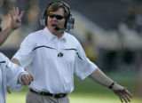 University of Colorado Buffaloes head football coach Dan Hawkins on the sidelines during the third...