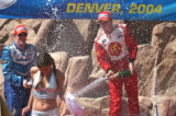 Denver, Colo., photo taken August 15, 2004- Coors Light silver bullet girl, Amanda Zepea, runs...