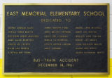 This plaque in the main hallway at East Memorial Elementary School serves as a permanent reminder...